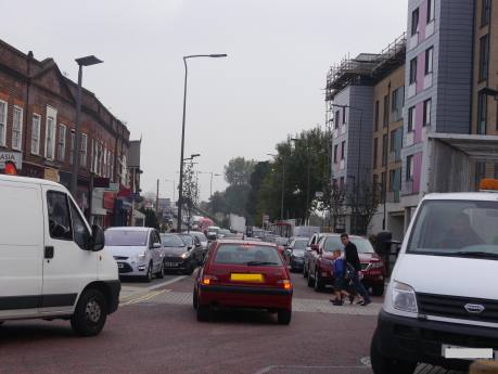How Hackbridge can look on a weekday afternoon. London Road, Hackbridge, 17 September 2014 (Photo Charles Martin)